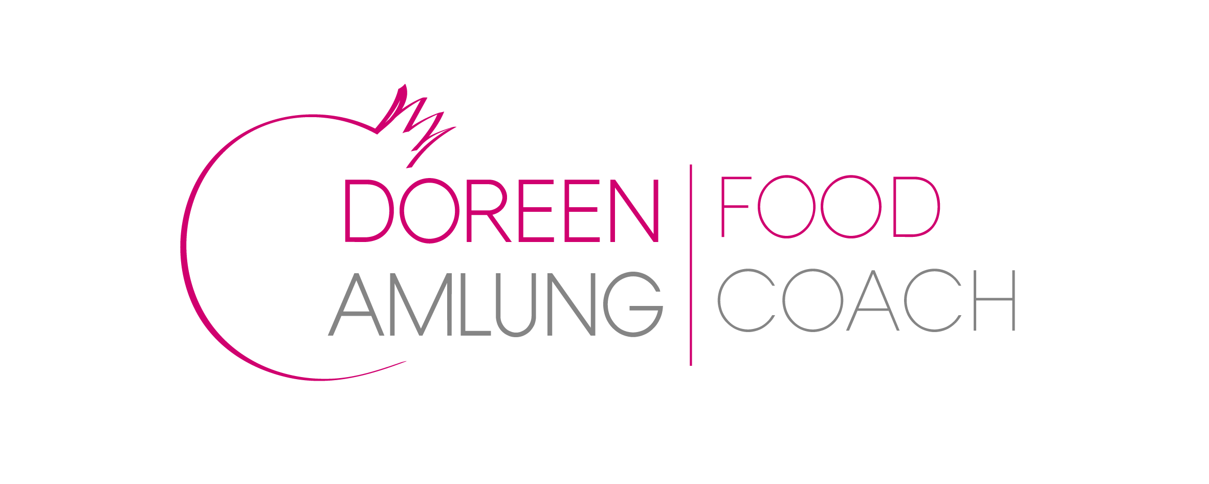 Großes Logo Doreen Amlung Food Coach pink und grau.